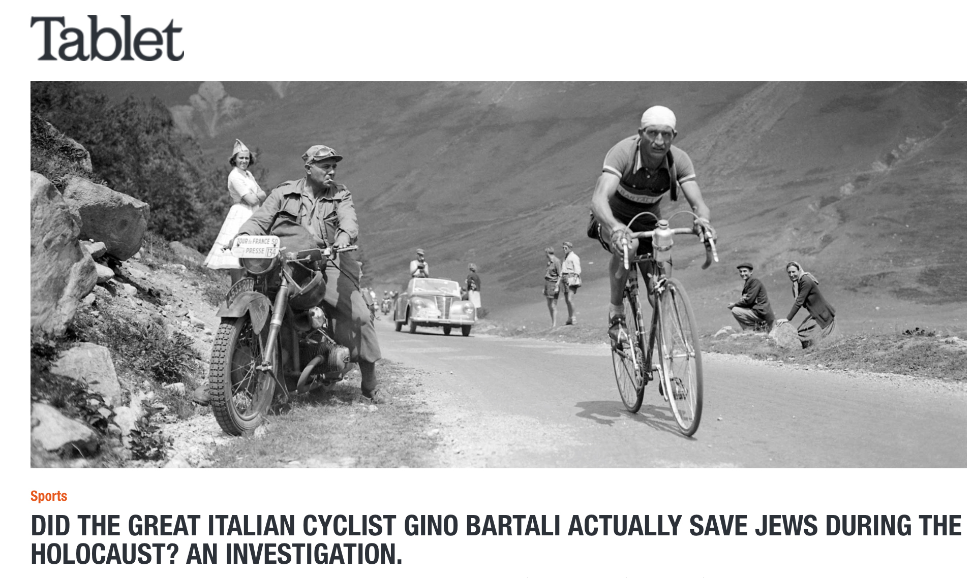 Tablet Magazine: Did Gino Bartali Actually Save Jews? An Investigation.